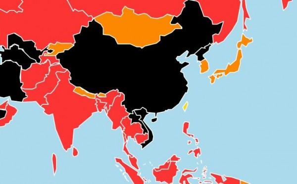 無國界記者組織在今天公布2017年新聞自由指數排名,台灣則從去年的51名進步6名來到45名,居亞洲國家之首。(圖截自無國界記者組織網站)