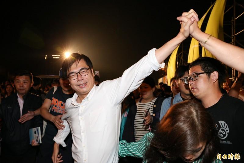 陳其邁昨晚向韓國瑜喊話,希望韓國瑜以中華民國高雄市長的稱呼,把台灣人的反對一國兩制的聲音傳給劉結一。(資料照)