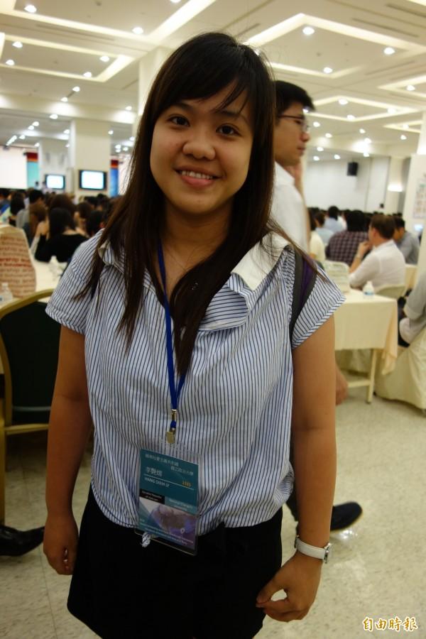 越南國際生李艷嫦喜歡台灣環境,本身是胡志民市師範大學中文系畢業,來台學中文後,未來也將朝經濟貿易方面發展。(記者吳柏軒攝)