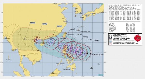 美軍聯合颱風警報中心推估未來山竹颱風的路徑。(圖擷取自JTWC)