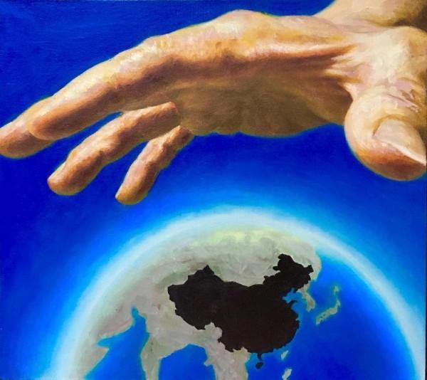翁冰這次的畫展中共展出38幅畫作,其中包括3幅與其它唯美風格迥異的作品。(圖擷取自推特)