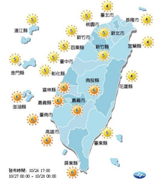 紫外線方面,明天南投縣、雲林縣、嘉義縣市、台南市、高雄市、屏東縣及澎湖縣達高量級,外出30分鐘恐曬傷,提醒民眾記得防曬、補充水分。(圖擷取自中央氣象局)