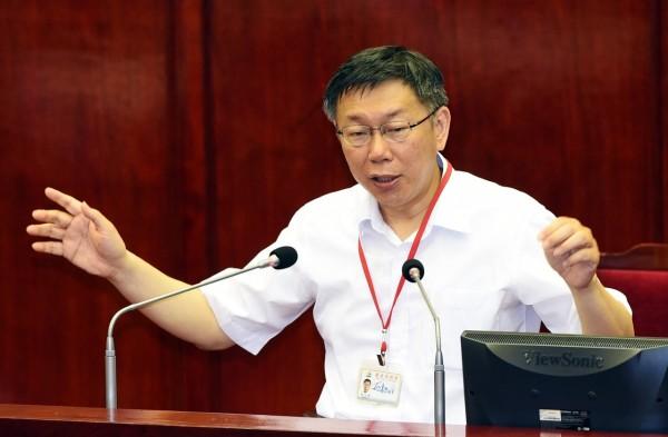 台北市長柯文哲上午至台北市議會進行教育專案報告。(記者羅沛德攝)