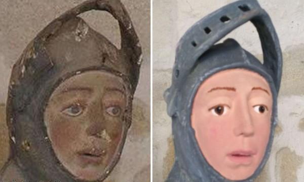 不少人痛批,雕像被畫成Q版人物。(圖擷自推特)