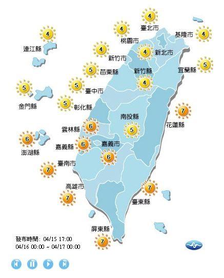 紫外線方面,宜蘭、連江、金門、中彰投以北地區為中量級,其餘地區為高量級。(圖擷取自中央氣象局)