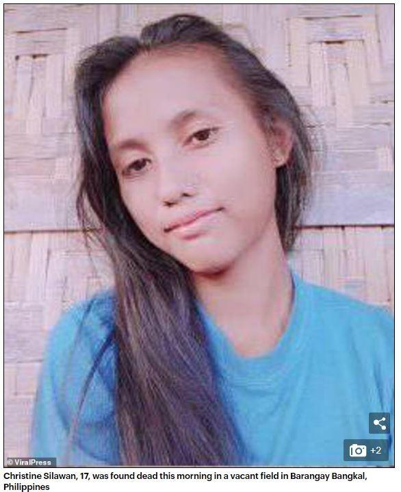 菲律賓1名17歲少女疑似遭性侵後殺害,屍體被發現時,少女身上部分衣物被兇手褪去,臉皮還被對方剝下來。(圖擷取自《每日郵報》)