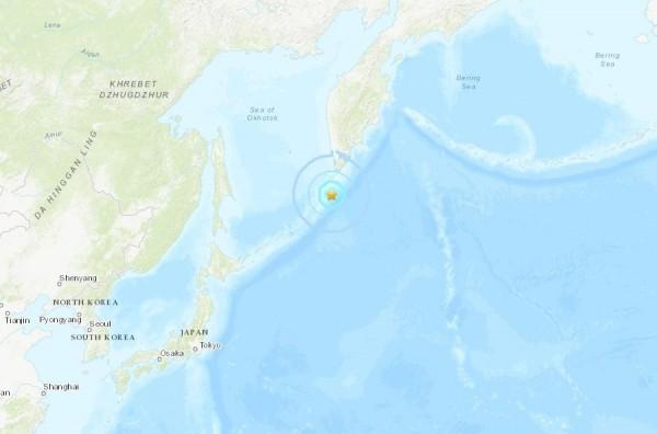 美國地質調查所(USGS)指出,日本北海道北方、俄羅斯東方千島群島(Kuril Islands)南部,台灣時間今天上午7時20分左右,發生規模6.3的地震,震央位於千島群島南方151公,地震深度17.5公里,目前尚未發布海嘯警報。(圖擷取自USGS)