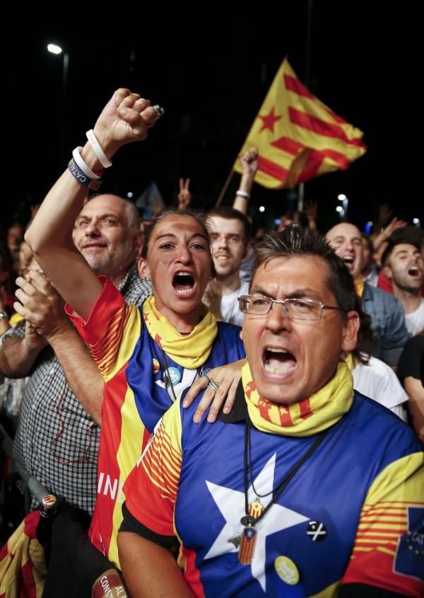 西班牙加泰隆尼亞大選,獨立派勝選。(路透)