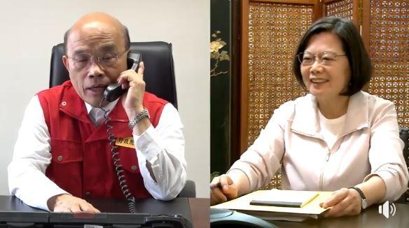 蔡英文在海外與蘇貞昌通話,關心國內防颱準備。(圖擷取自總統臉書)