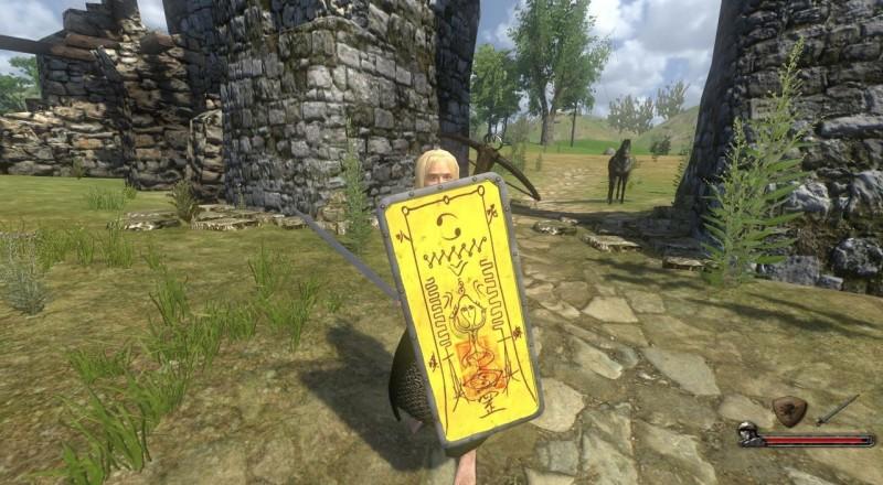 近日竟有國外網友以《還願》符咒為素材惡搞,在另款遊戲中製成盾牌外觀。(擷取自Steam論壇)