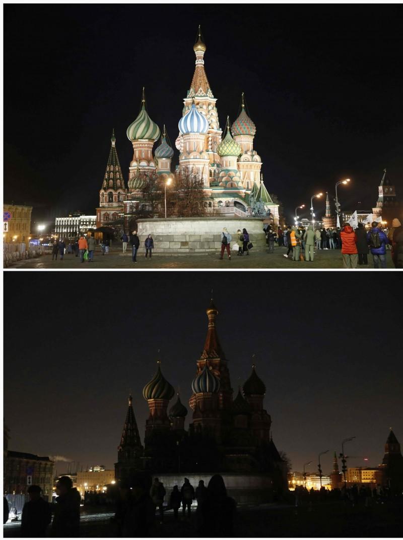 俄羅斯政府所在地、著名地標克里姆林宮(Kremlin)響應「地球一小時」活動。(法新社)