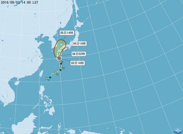 中颱南修今(4日)晚將侵襲日本西部及九州一帶,對台灣沒有影響。(圖擷取自中央氣象局)
