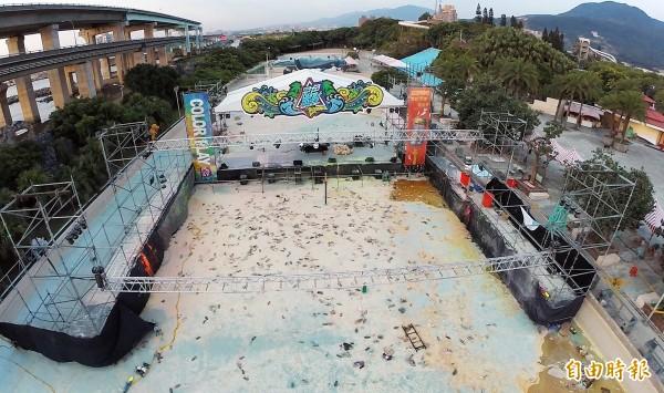 八仙樂園彩色粉塵爆炸現場空拍圖。(資料照,記者羅沛德攝)