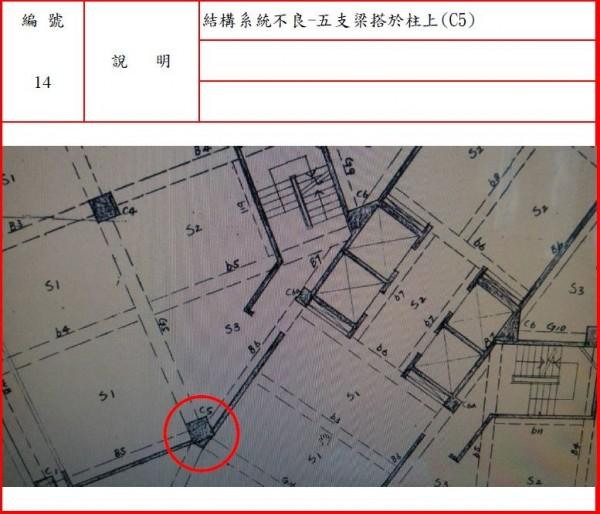 檢方說,建築師、結構技師設計時低估靜載重,翠堤大樓位於入口大門內側處二根大柱(C5柱),設計以1柱接5梁之方式相接,因施工困難,營造廠就順便施作,導致強度不足,地震第一時間就從這方向倒下。(記者王錦義翻攝)