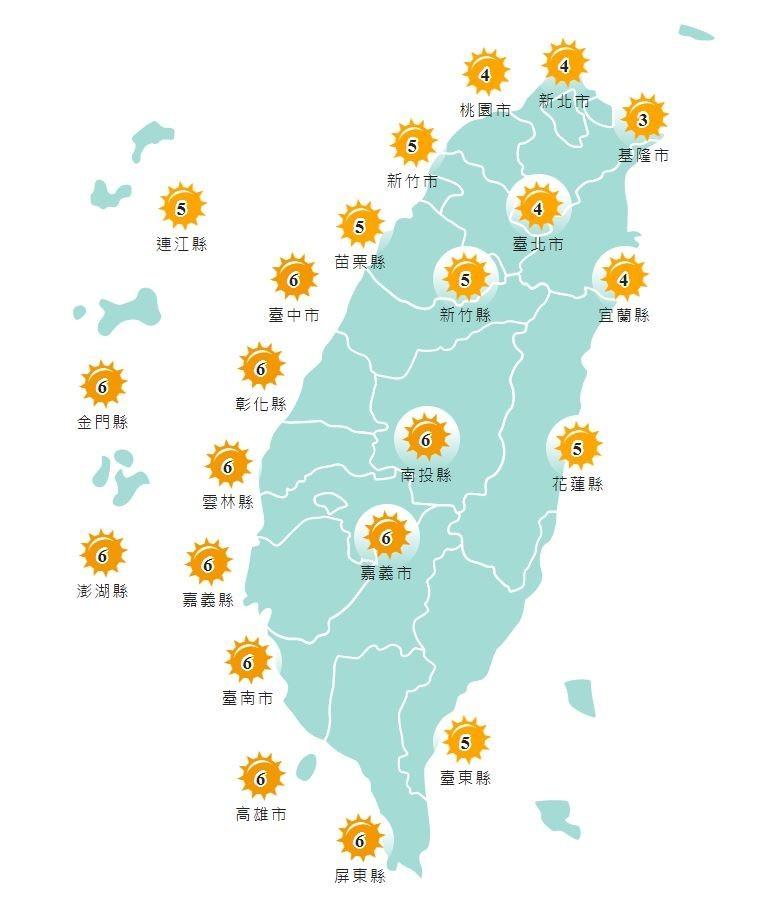 明日紫外線指數,中南部地區為高量級。(圖擷取自中央氣象局網站)