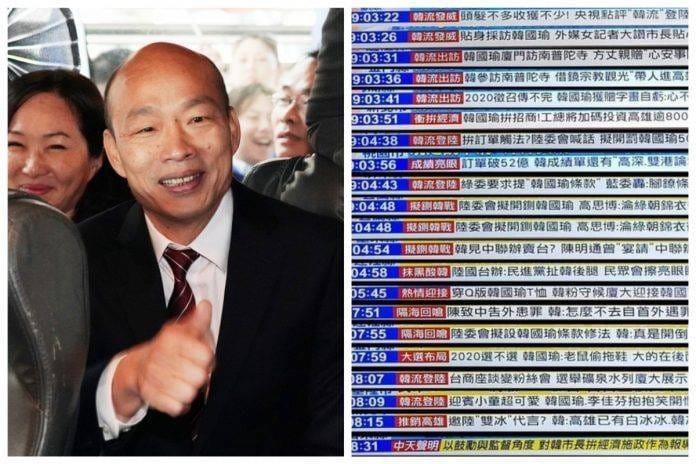 網友翻出日前整理某電視台報導韓國瑜的照片,覺得和人民日報的造神有87分像。(擷取自王丹臉書粉絲專頁)