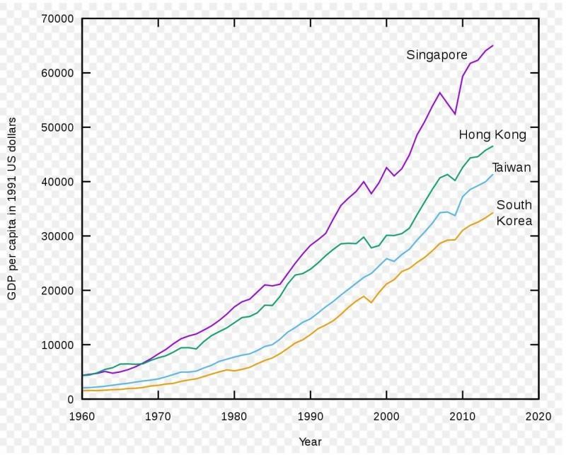 沈榮欽貼出四小龍的GDP曲線圖指出,1960年起,自從新加坡在早期超越香港後,四小龍的排名一直是星、港、台、韓,從未變過。他以1950年為例,四小龍人均GDP分別是:台:$924、韓:$854、港:$2218、星:$2219,台灣仍然只高於韓國。(圖擷取自沈榮欽臉書)