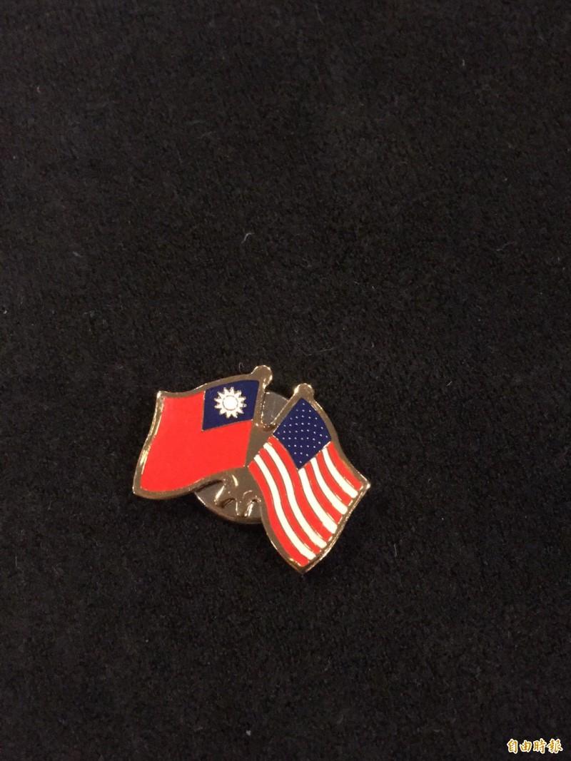 蔡總統外衣別著中華民國與美國兩國國旗徽章。(記者楊淳卉攝)