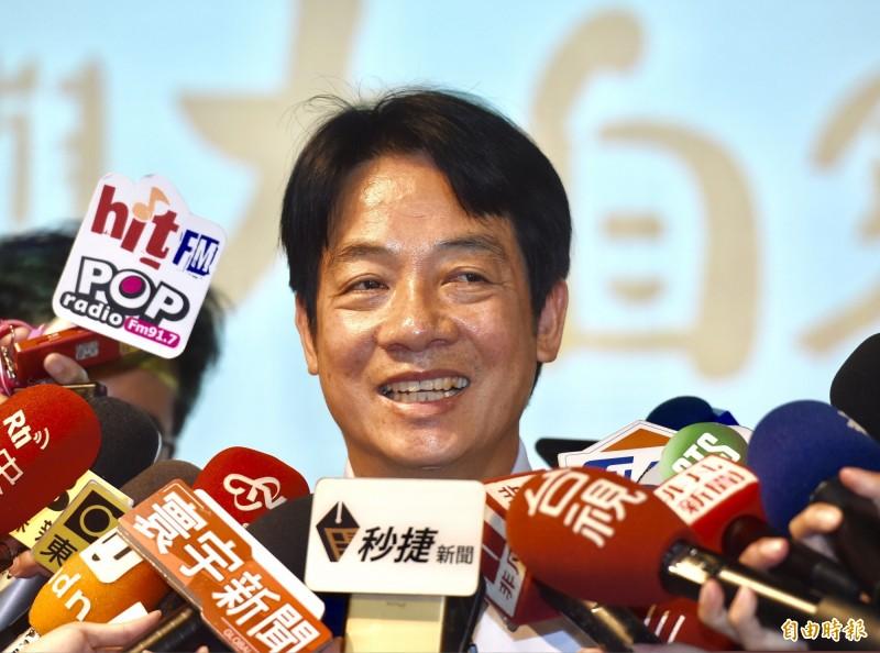 投入民進黨總統初選的前行政院長賴清德今受訪表示,韓國瑜目前還是國民黨裡面最服眾望的人選,很希望與韓國瑜在明年總統大選進行一場君子之爭。(記者黃耀徵攝)