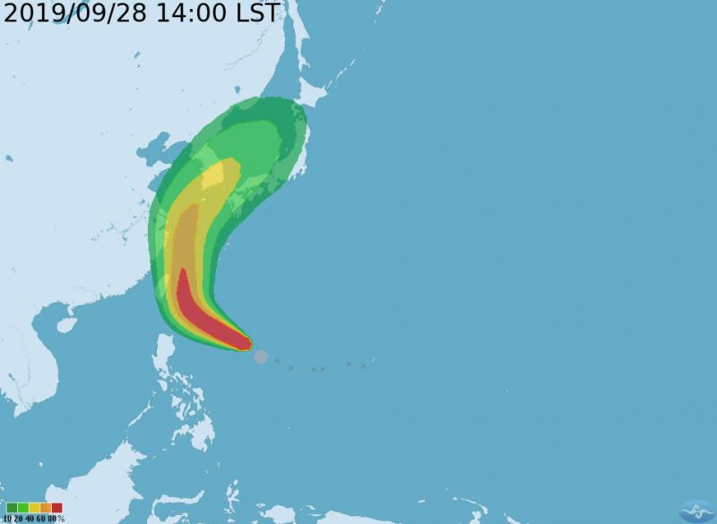 氣象局發布米塔颱風下午2時起,颱風七級風暴風圈在未來120小時的侵襲機率。(擷取自中央氣象局)