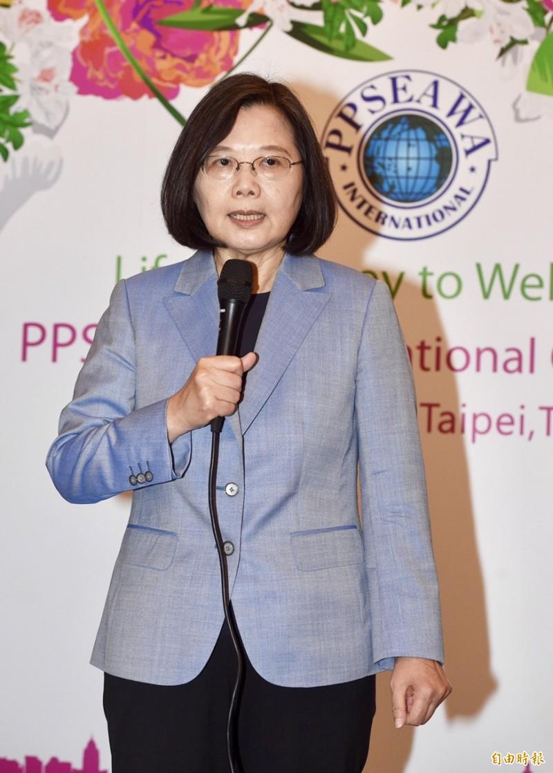 蔡英文總統今天早上出席「泛太平洋暨東南亞婦女協會(PPSEAWA)第27屆國際年會開幕典禮」。(記者羅沛德攝)
