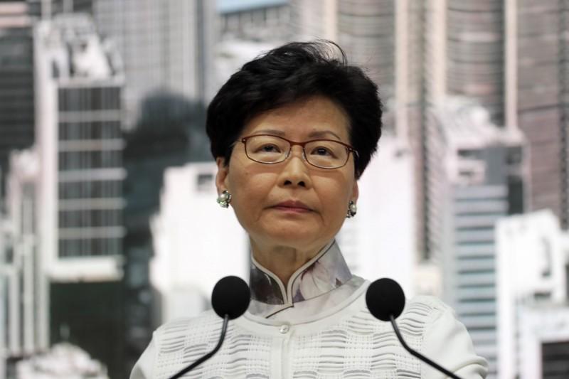 香港特首林鄭月娥傳躲廁所狂哭。(美聯)