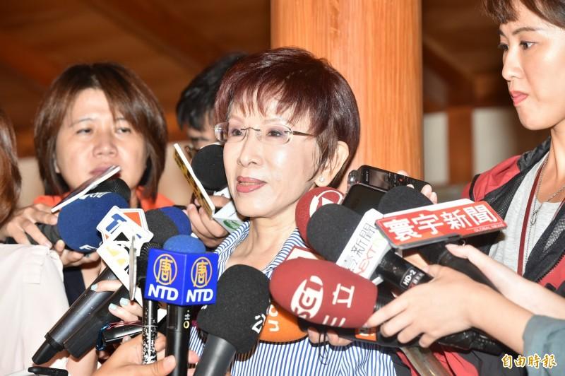 前國民黨主席洪秀柱表示,未來黨內還是應該討論如何深化「九二共識」。(資料照,記者塗建榮攝)