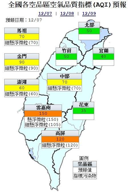 空氣品質方面,北部、竹苗、宜蘭及花東為「良好」等級;中部及離島地區為「普通」;沿海地區短時間達「紅色警示」,雲嘉南及高屏則為「橘色提醒」等級。(圖擷取自環保署)