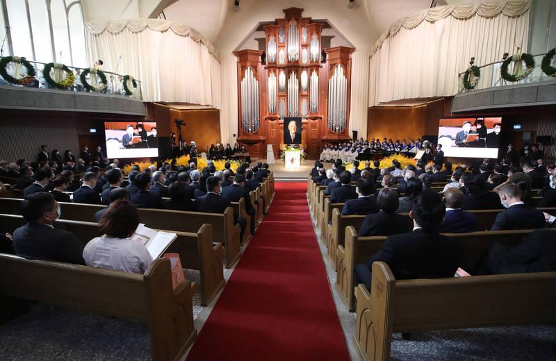 李登輝追思告別禮拜,於真理大學大禮拜堂舉行。(台北市攝影記者聯誼會提供)