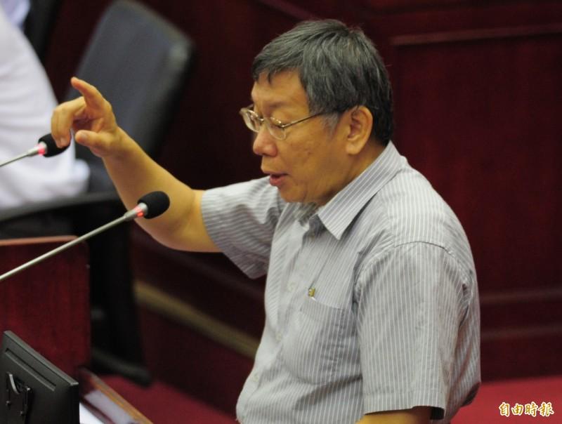 台北市議總質詢,台北市長柯文哲出席並備詢。(記者王藝菘攝)