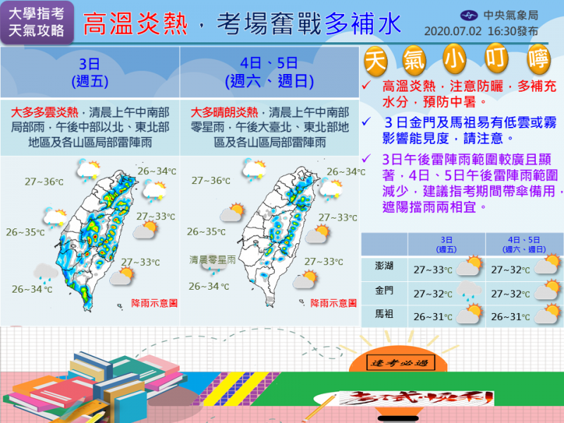 氣象局指出,未來三天高溫炎熱,且還是有降下大雨的可能性。(圖取自中央氣象局)