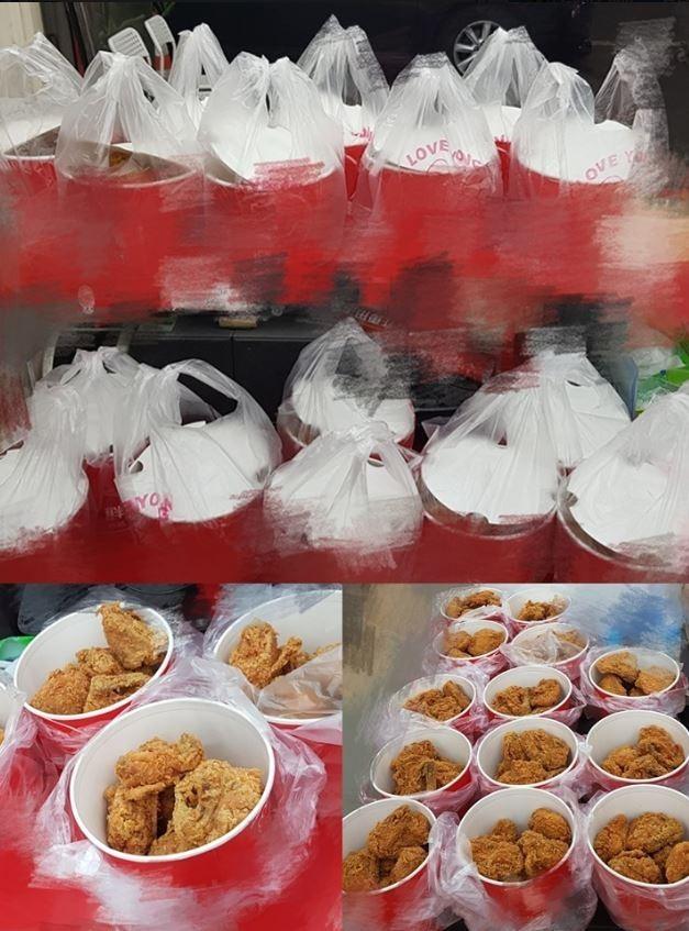 網友po出要送往育幼院的炸雞照片。(圖擷自報廢公社)