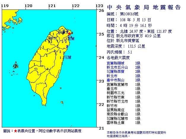 氣象局地震測報中心指出,這起地震是因為板塊隱沒作用所致。(圖擷取自中央氣象局)