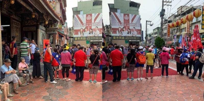 韓國瑜下午造訪鳳山龍山寺,現場相迎的韓粉人數不到60名。(圖擷取自公民割草行動)