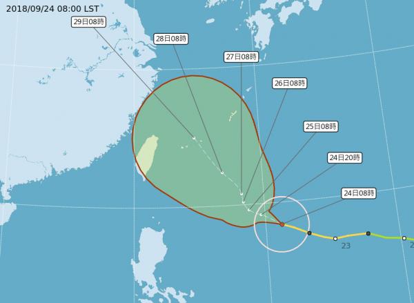 明後兩天導引氣流減弱,潭美颱風將陷近似滯留狀態,滯留後的移動方向為是否侵台關鍵。(圖擷取自中央氣象局)