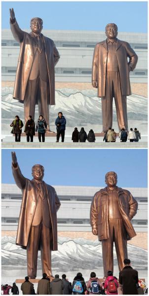 北韓人民最先祭祀的對象,就是他們的領導人金日成與金正日。(路透社)
