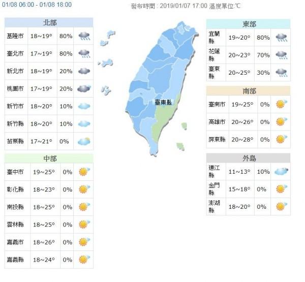 明天起,東北季風增強,迎風面水氣充足,北台灣整天濕涼;北部及東半部地區易有局部雨。(圖取自中央氣象局)