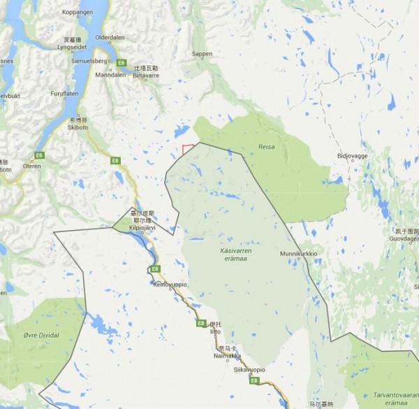 挪威當局計畫將圖中紅線處,也就是北邊國界向西方與北方各往內退後200公尺與150公尺,將哈爾蒂亞峰最高點送給芬蘭。(圖擷取自GOOGLE地圖)