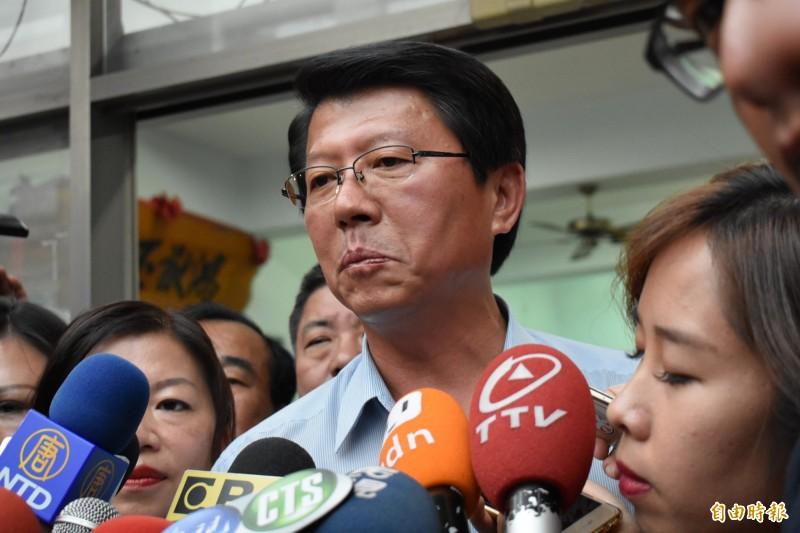 謝龍介今在台南市第二選區立委補選中,以3664票輸給民進黨郭國文。(記者楊金城攝)