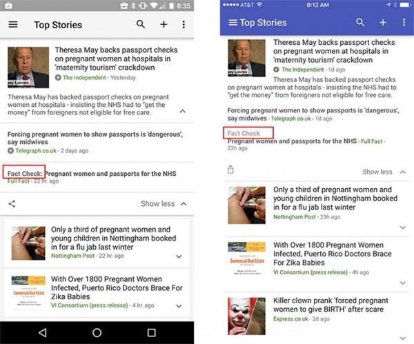 為了掃蕩假新聞,Google目前在英美提供「事實查核」(Fact-Check),供民眾查詢新聞內容是否屬實。(圖擷自Google部落格)