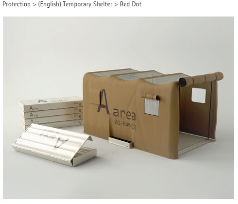 中華大學工業產品設計學系學生留韋傑、呂玟儀設計的臨時災害避難帳篷作品「Temporary Shelter」。(圖擷自Reddot網站)
