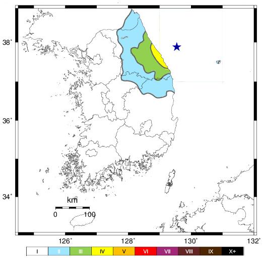 南韓氣象廳(KMA)表示,東半部沿海地區明顯有感,江原道最大震度達4級。(南韓氣象廳)