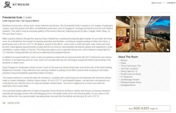 瑞吉酒店總統套房一晚要價21萬台幣。(圖擷自瑞吉酒店官網)