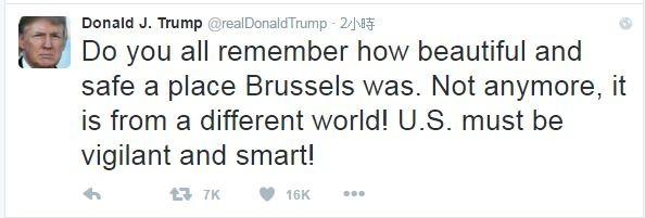川普稍早也在個人社群發文,稱:「你還記得布魯塞爾是多麼美麗和安全的地方嗎?但現在它已不再。」認為美國需要警惕且更聰明地應對。(圖擷取自推特)