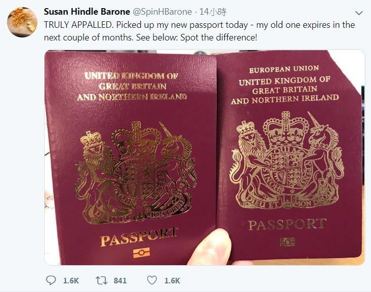 英國目前已經開始發行沒有「歐盟」字樣的新版護照。(擷取自Twitter@SpinHBarone)