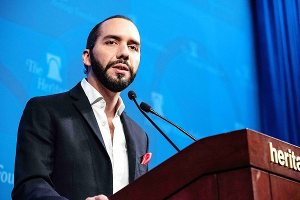 Salvadoran president-elect Nayib Bukele speaks at the Heritage Foundation in Washington on Wednesday. Photo: AFP