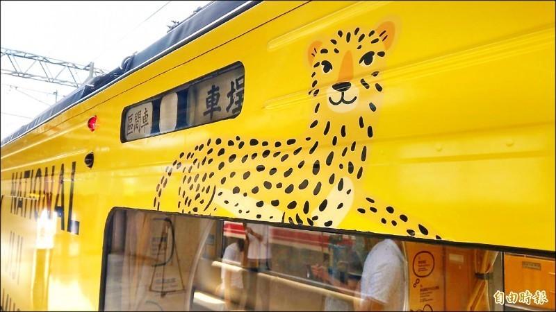 由旅美設計師江孟芝打造的台鐵集集支線彩繪列車20日在樹林車站亮相,但車身彩繪的石虎因特徵不明顯,被外界批為「像花豹」。(資料照)