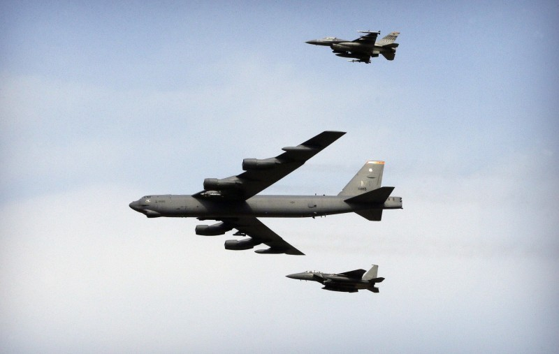 B-52轟炸機今年第5次出擊,在4月已出動2次。(美聯社)
