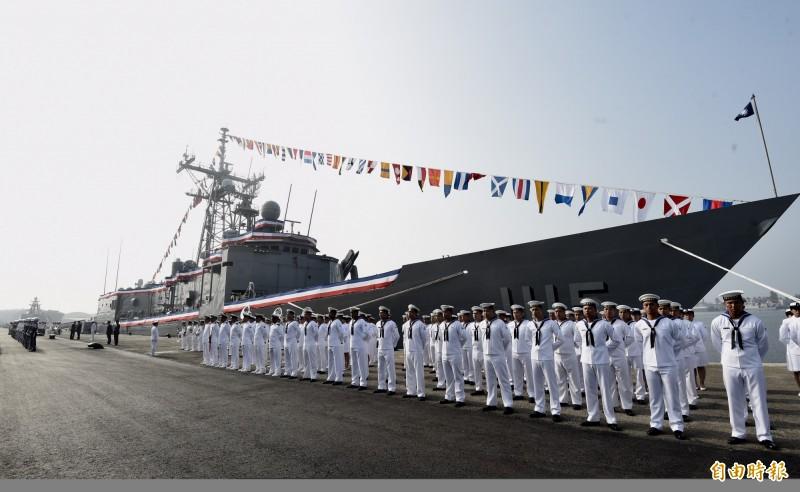 圖為逢甲軍艦去年11月8日舉行成軍典禮。(資料照,記者簡榮豐攝)