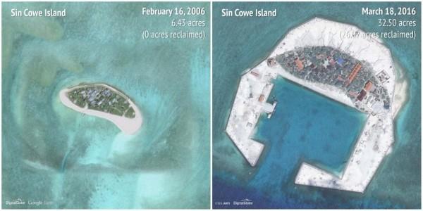 2006-2016景宏島(Sin Cowe Island)。(圖擷自商業內幕)